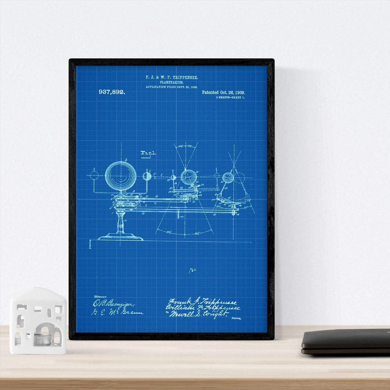 Stampare con Il Brevetto di Disegno in Formato A3 dEpoca e Abiti Vintage Sfondo Nacnic Poster Brevetto Astronauta 2