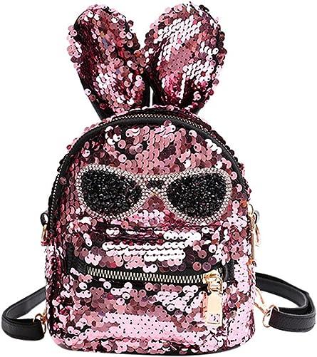 Cute Mini Sequin Backpack Dazzling Rabbit Ear Shoulder Bag Daypack for Little Girls Kids