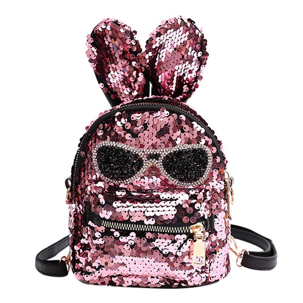 6dab9552e5bc Cute Mini Sequin Backpack Dazzling Rabbit Ear Shoulder Bag Daypack for  Little Girls