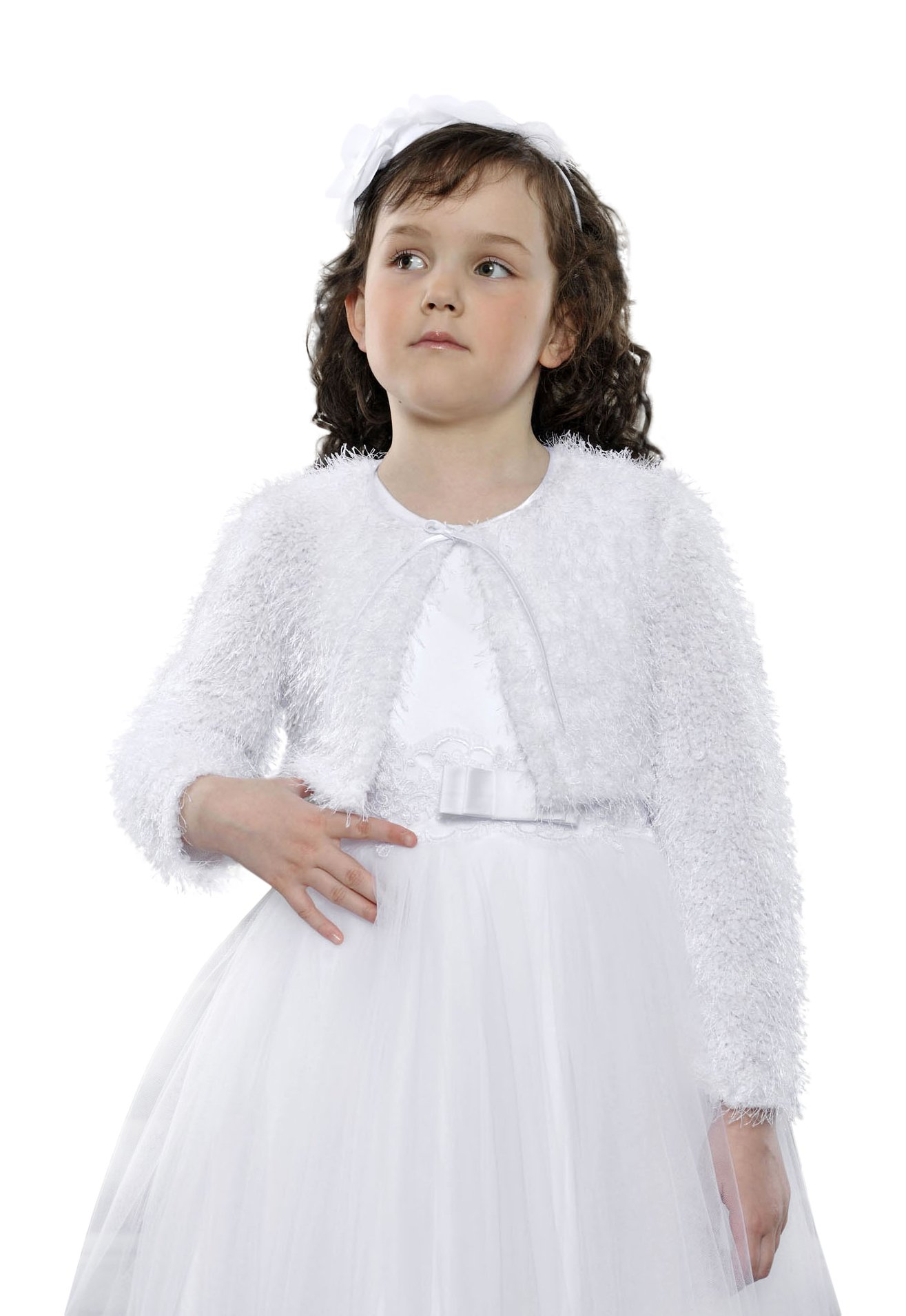 Flower Girls Wedding Communion Party Woven Fur Bolero Jacket Shrug Long Sleeve 7-12 Years