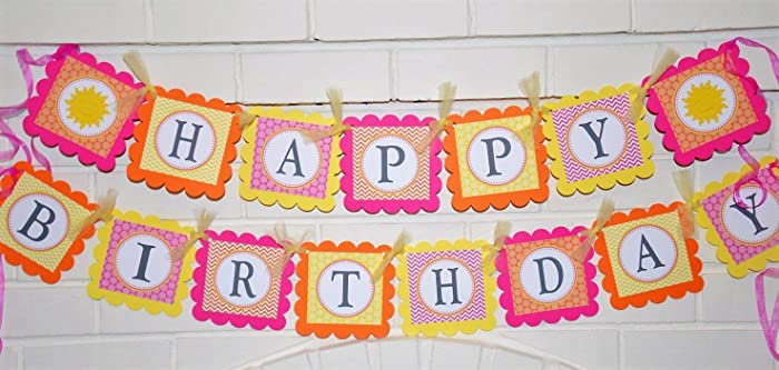 Happy Birthday You Are My Sunshine Banner In Pastels