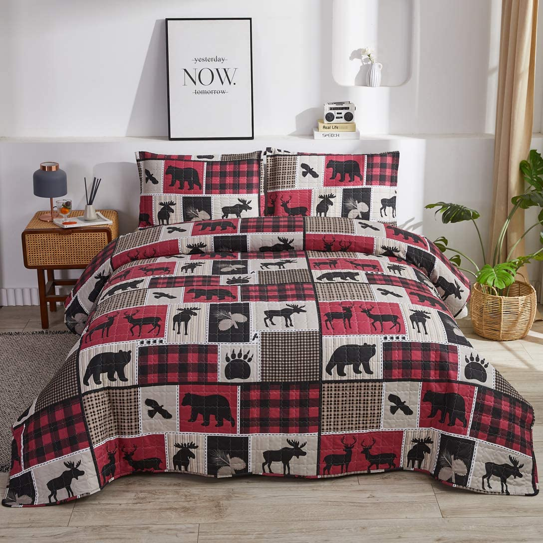 Plaid Patchwork Bedding Lightweight Rustic Cabin Quilt Set Full/Queen Size,3Pcs Moose Bear Bedspreads Reversible Lodge Coverlet Sets Eagle Deer Paw Tree Printed Quilt Pillow Shams