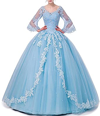 Long Sleeve Lace Quinceanera Dresses Ball Gown Formal Prom Dresses Princess Gowns at Amazon Womens Clothing store: