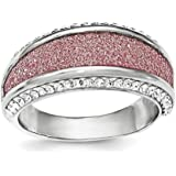 Sterling Silver Crystal Pink Laser Glitter Texture Ring - Ring Size Options Range: L to P