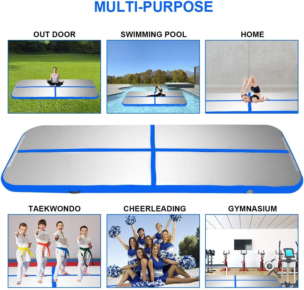 Strobody Inflatable Gymnastics Training Mats Airtrack Tumbling Mats with Electric Pump Blue 4 Inches Thickness for Gymnastics