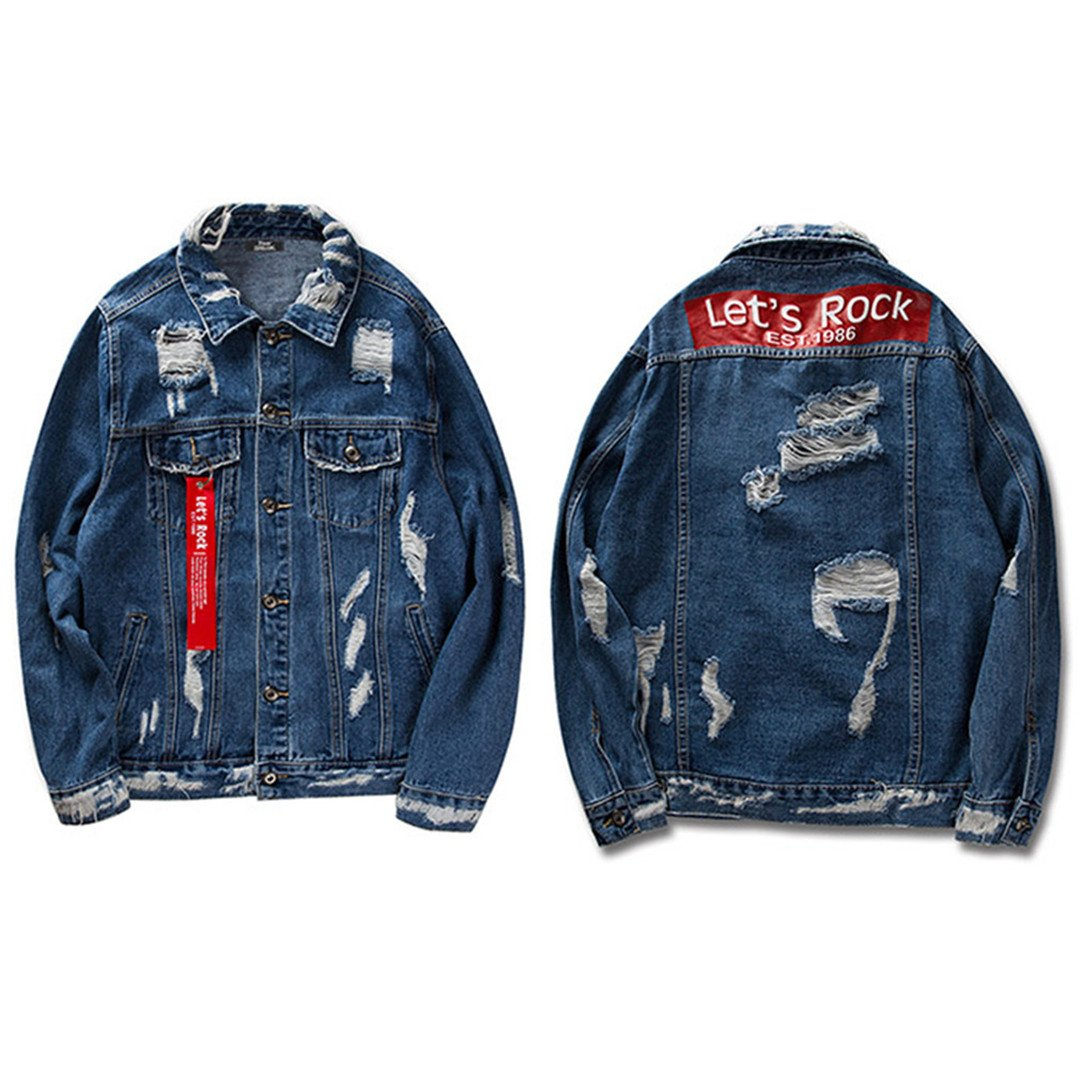 Feissan Black Ribbon Hollow Denim Jacket Men Retro Distressed Destroy Hip Hop Jeans Jacket at Amazon Mens Clothing store: