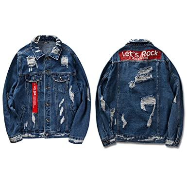 Feissan Black Ribbon Hollow Denim Jacket Men Retro Distressed Destroy Hip Hop Jeans Jacket B790RK302 M
