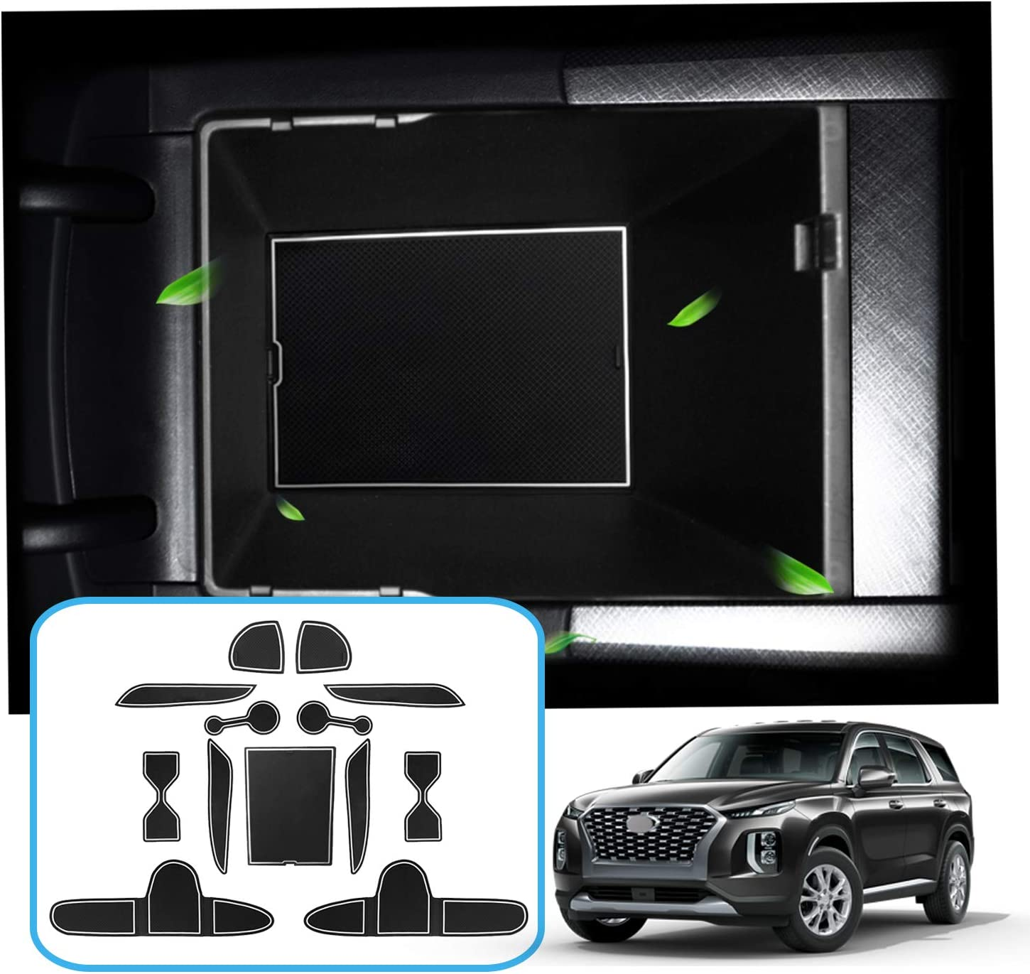 and Console Liner Accessories Door RUIYA Door Slot Pad for 2020 Palisade Cushion Non-Slip Gate Slot Pad Cup Mat Car Interior Automotive Decoration Fit Cup