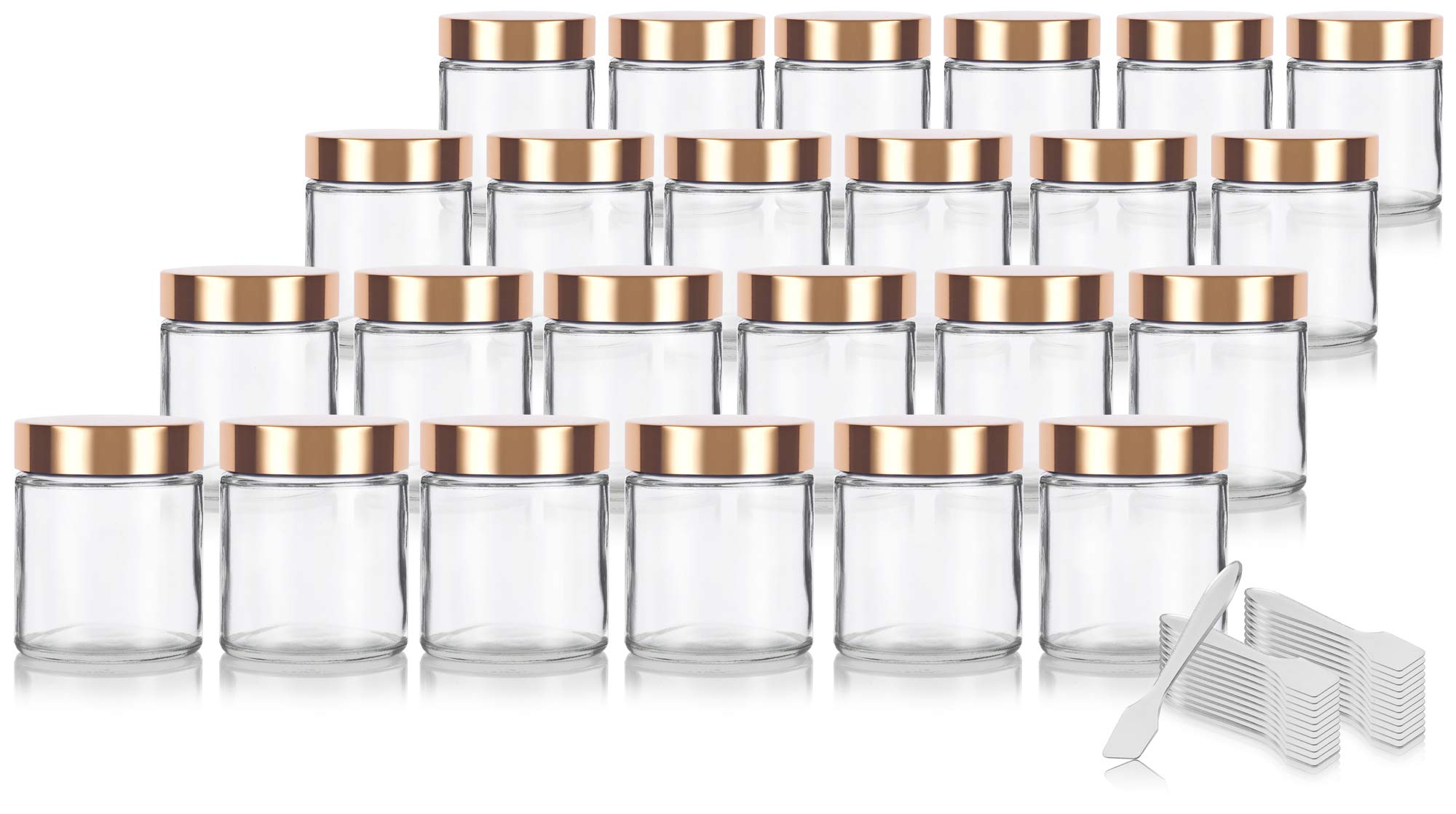 Clear Thick Glass Straight Sided Jar with Gold Metal Overshell Lid - 4 oz / 120 ml (24 pack) + Spatulas by JUVITUS
