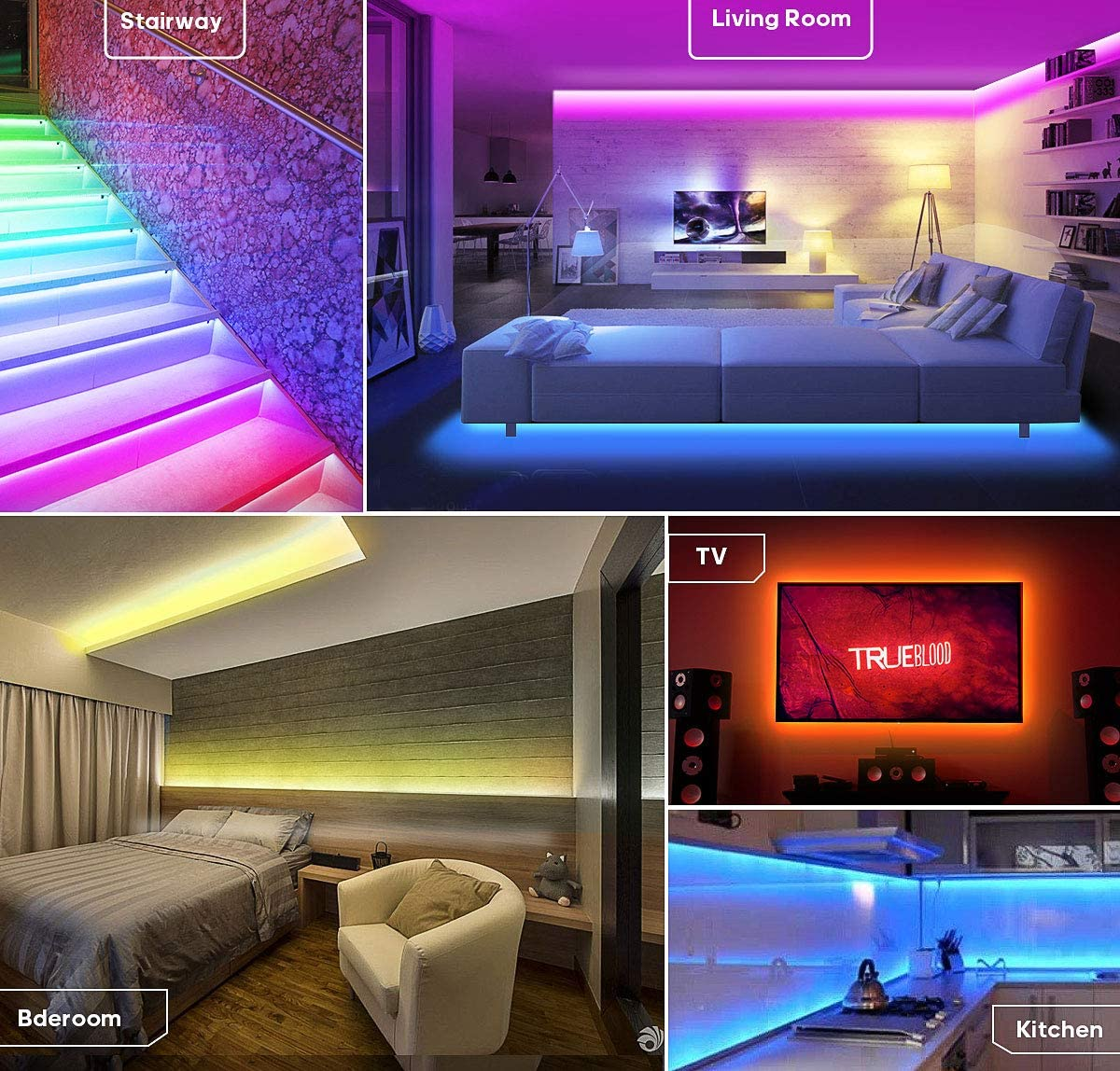tiras de LED USB flexibles impermeables de 2 metros para exteriores Navidad tiras de LED RGB de control de tel/éfono inteligente habitaciones Tira de LED Bluetooth decoraci/ón