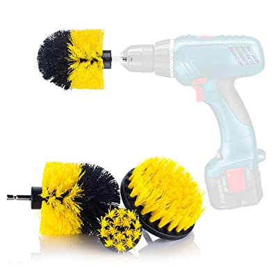 YIJINSHENG 3 Piece Medium and Stiff Brush with Drill Attachment Scrubbing Brushes for Cleaning Car Tires,Carpet, Kitchens,Bathrooms, Showers, Tubs, Boats Power Scrubber Kit (Yellow) (Yellow): Automotive