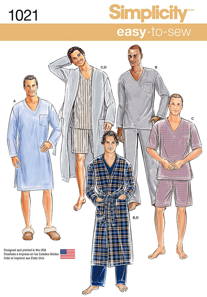 Sizes XS-XL Simplicity Easy to Sew Classic Mens Robe and Pajama Sewing Patterns