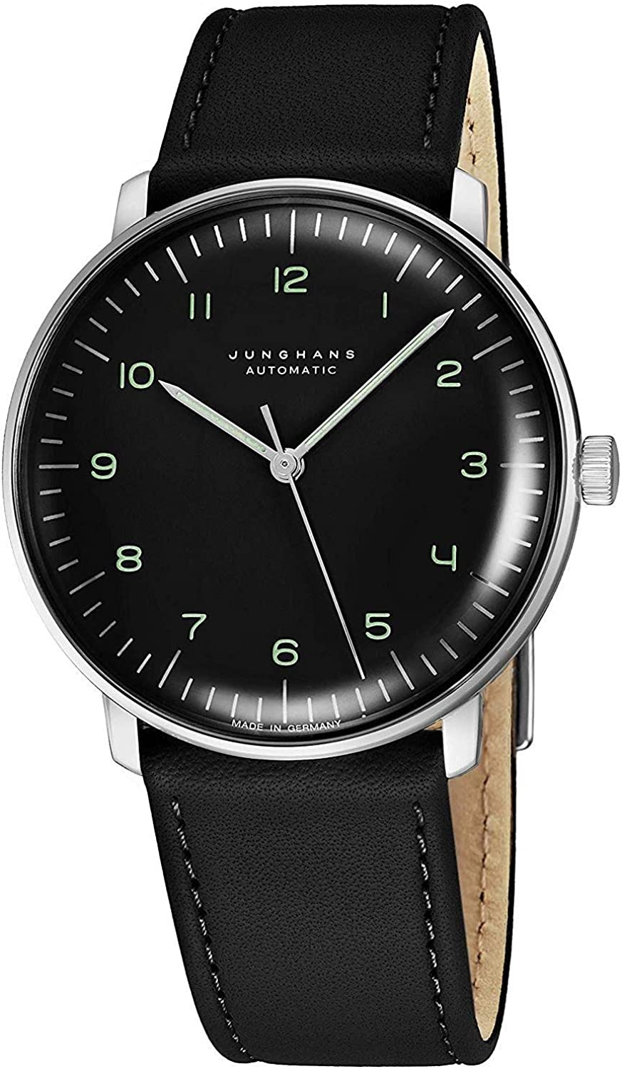 Junghans Max Bill Automatic Mens Watch – 38mm Analog Black Face Classic Watch with Luminous Hands – Stainless Steel Black Leather Band Luxury Watch for Men Made in Germany 027 3400.00