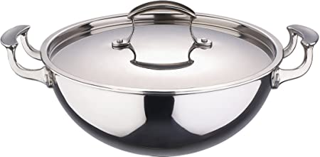 Bergner Stainless Steel Wok With Lid 24cm Amazoncouk Kitchen Home