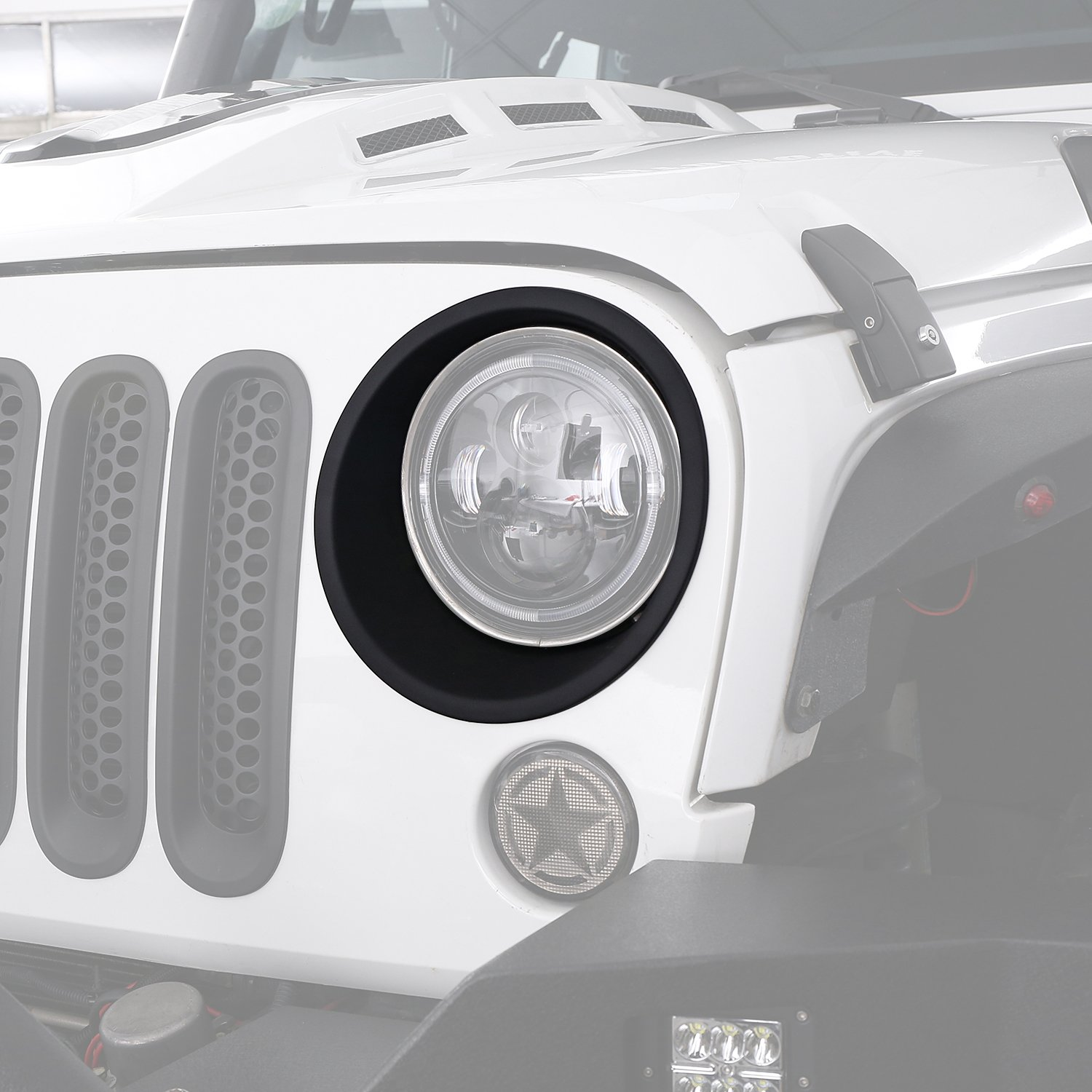 Matte Black Headlight Bezels Headlight Cover Trim for 2007-2018 Jeep Wrangler JK & Wrangler Unlimited Hooke Road