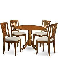 East West Furniture DLAV5 SBR C 5 Piece Kitchen Table Set, Saddle