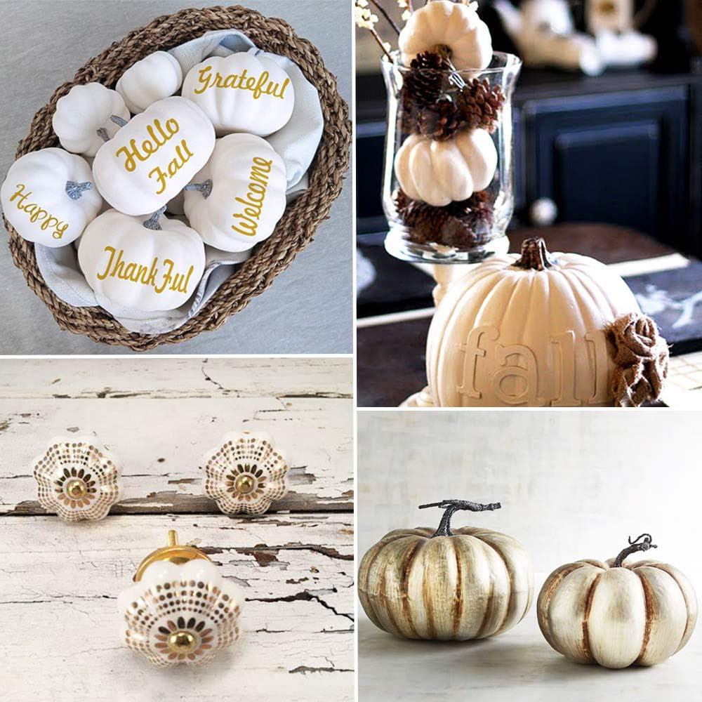 OJYUDD 54 Pcs Artificial White Pumpkins Fake Artificial Mini Pumpkins,White Plastic Pumpkins with Acorns,Pine Cones /& Leaves for Autumn Pumpkin Decor