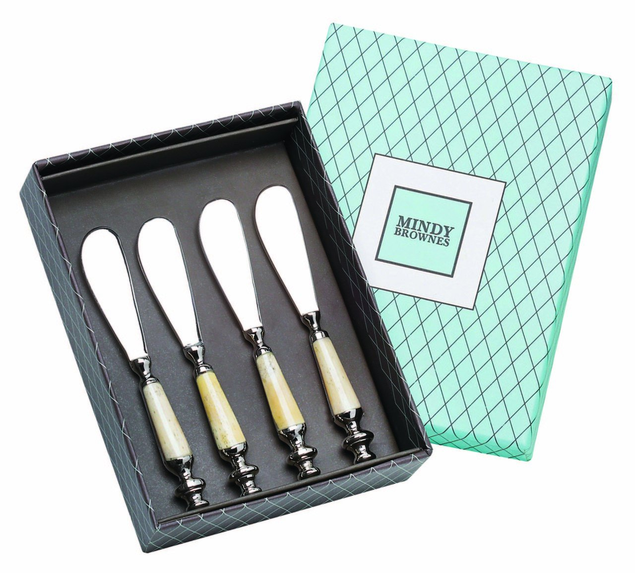 'Royal Spreader Set of Four' - a delightful set of four Stainless Steel spreaders or butter knives with bone handles Genesis