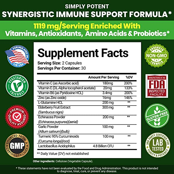 Immune System Support Supplement for Immunity Boost w Elderberry, Vitamin C, Echinacea, Zinc, Turmeric Probiotics - Pills for Full Spectrum Immune Defense, Respiratory, Antioxidant Gut Health