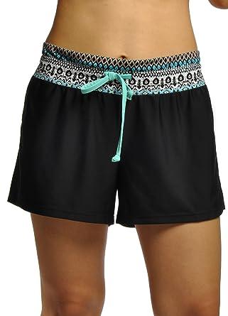 d332a2b5fe OUO Womens Adjustable Drawstring Boy Style Swim Shorts