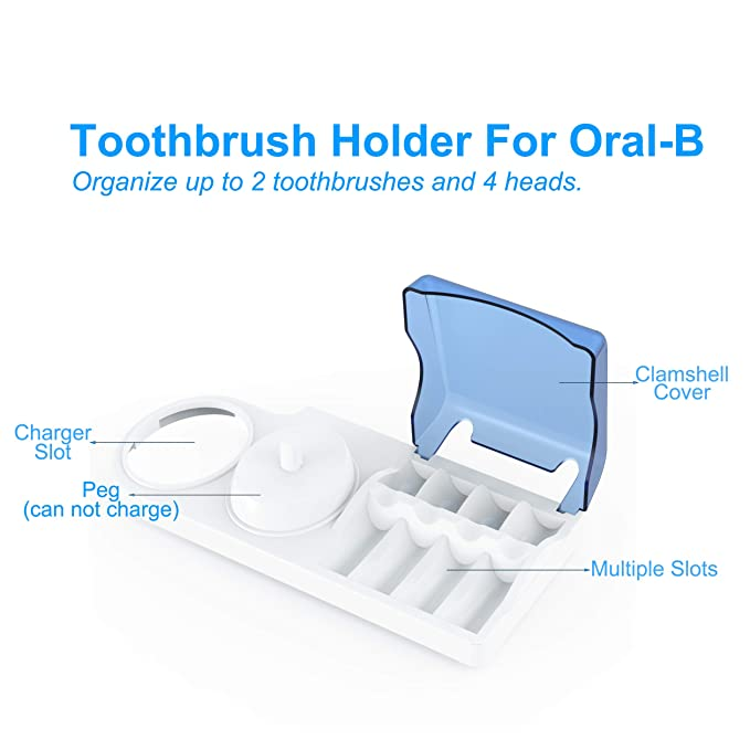 Titular de cepillo de dientes para cepillos de dientes eléctricos Oral-B  Poketech reposar durante 4 Cabezales de Cargador - Blanco  Amazon.es  Hogar 51334c6f7f7a