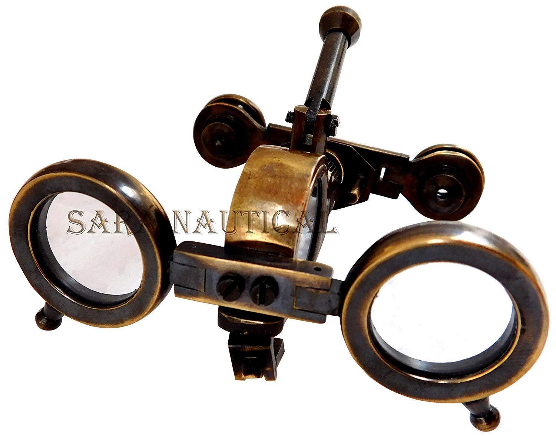 = Marine Vintage Antique Brass Binocular with Compass Adjust Marine Spyglass m