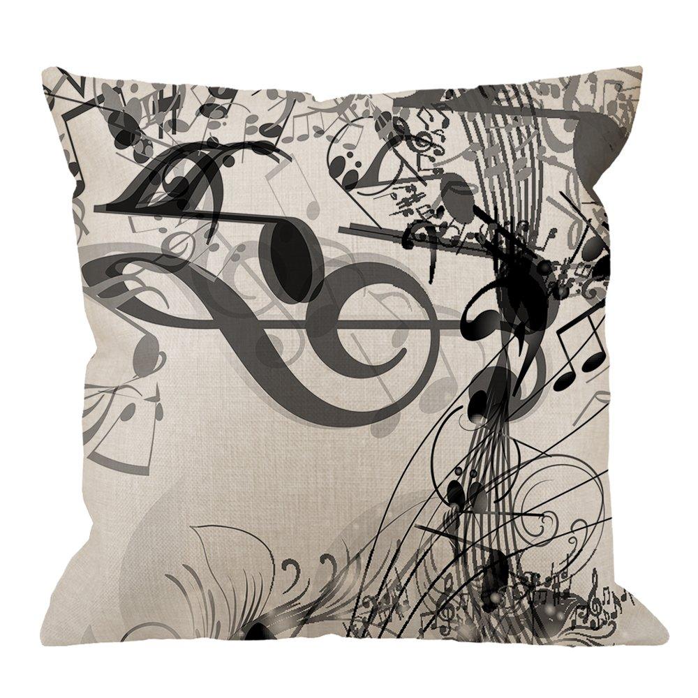 HGOD DESIGNS Music Notes Pillow Case,Black-White Music Notes Cotton Linen Cushion Cover Square Standard Home Decorative for Men/Women 18x18 inch White Black