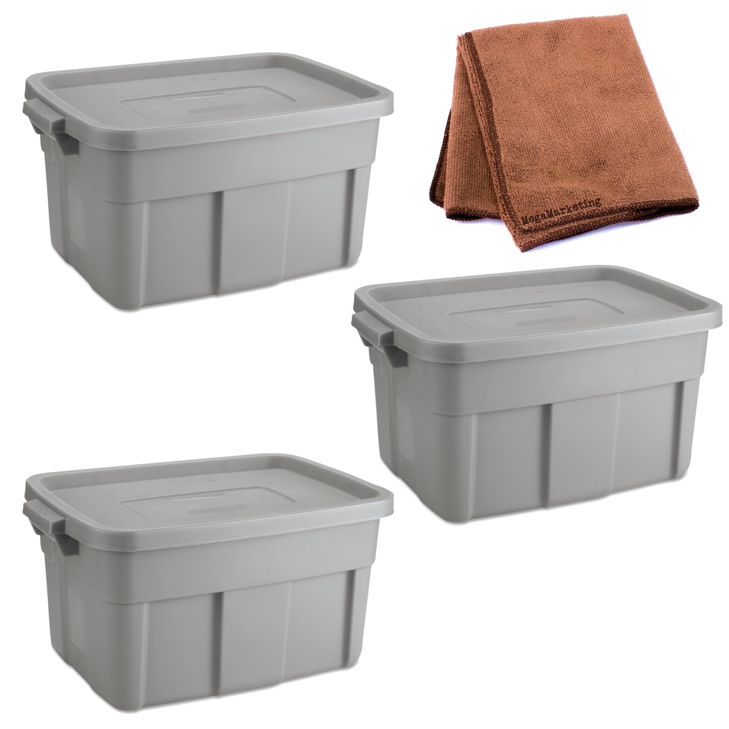 Rubbermaid 14-Gallon Roughneck Storage Box Tote, Steel Gray, Case of 3 with Cleaning Cloth