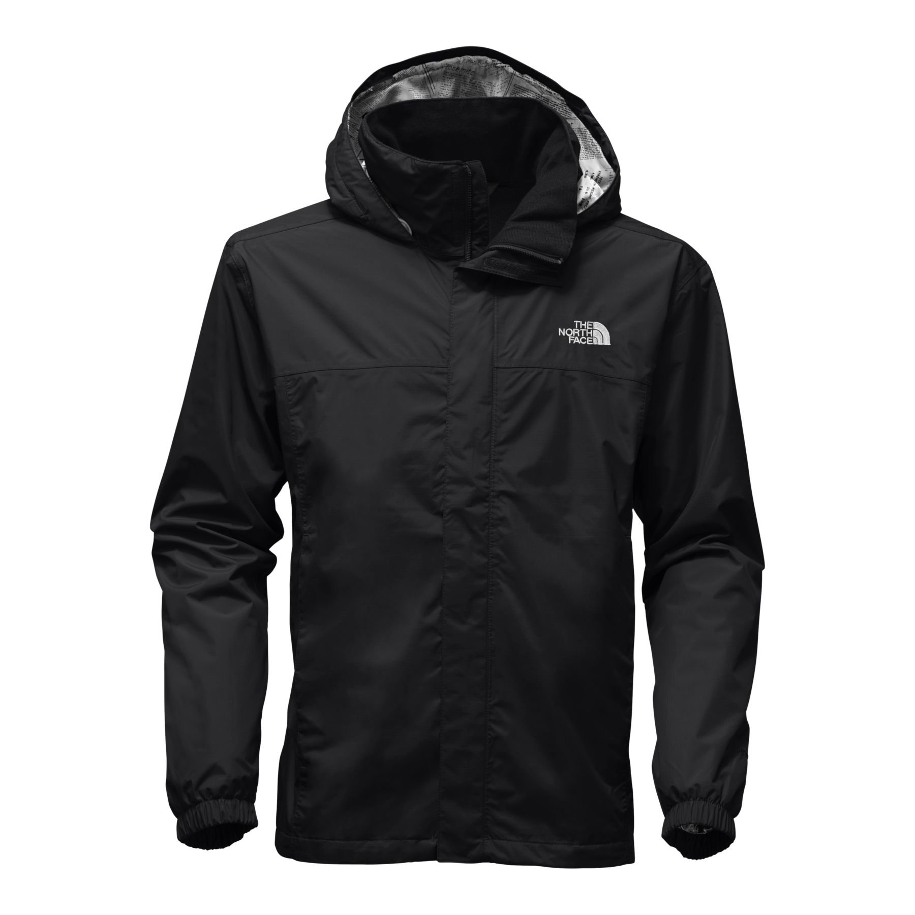 The North Face Mens Resolve 2 Jacket - TNF Black/TNF White Light Gray Collar Print - L