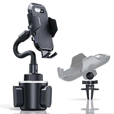 Cup Phone Holder for Car, Universal Adjustable Cup Holder Cradle Gooseneck Phone Holder Hands-Free Compatible with iPhone 11 Pro X XS Max XR 8 7 6+, Samsung Galaxy S10 S10+ S10e S9 S8 S7 and More