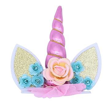 Luoem Einhorn Cake Topper Mit Einhorn Horn Ohren Und Blumen