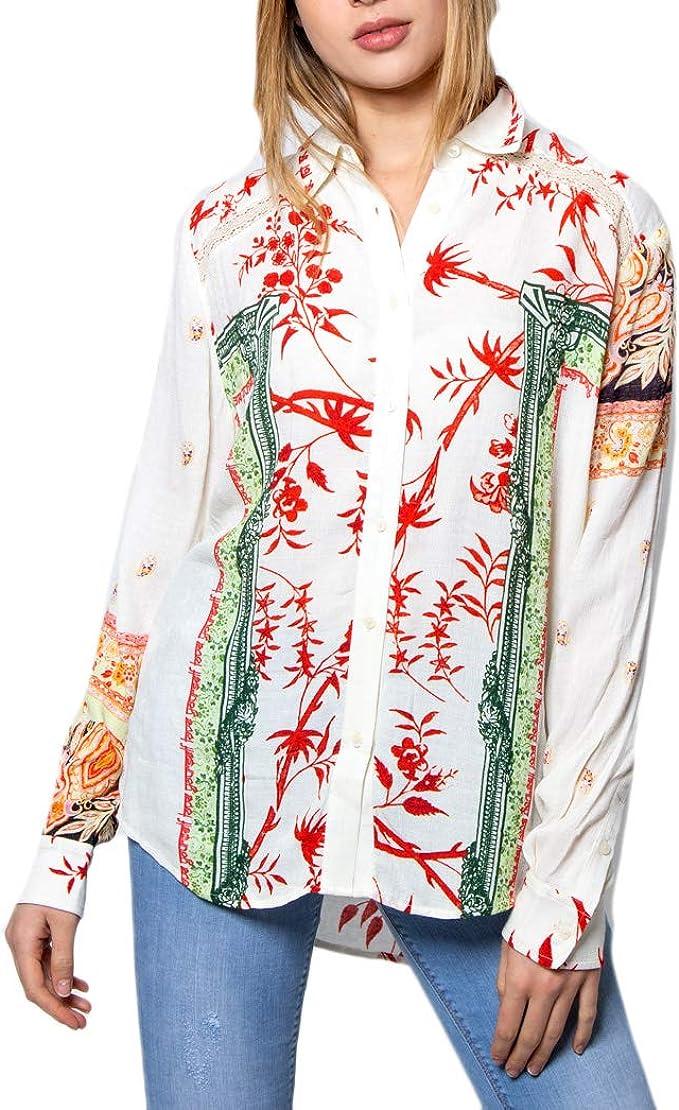 Camicia manica lunga Donna DESIGUAL cam greta 20swcw66 m panna: Amazon.es: Ropa y accesorios