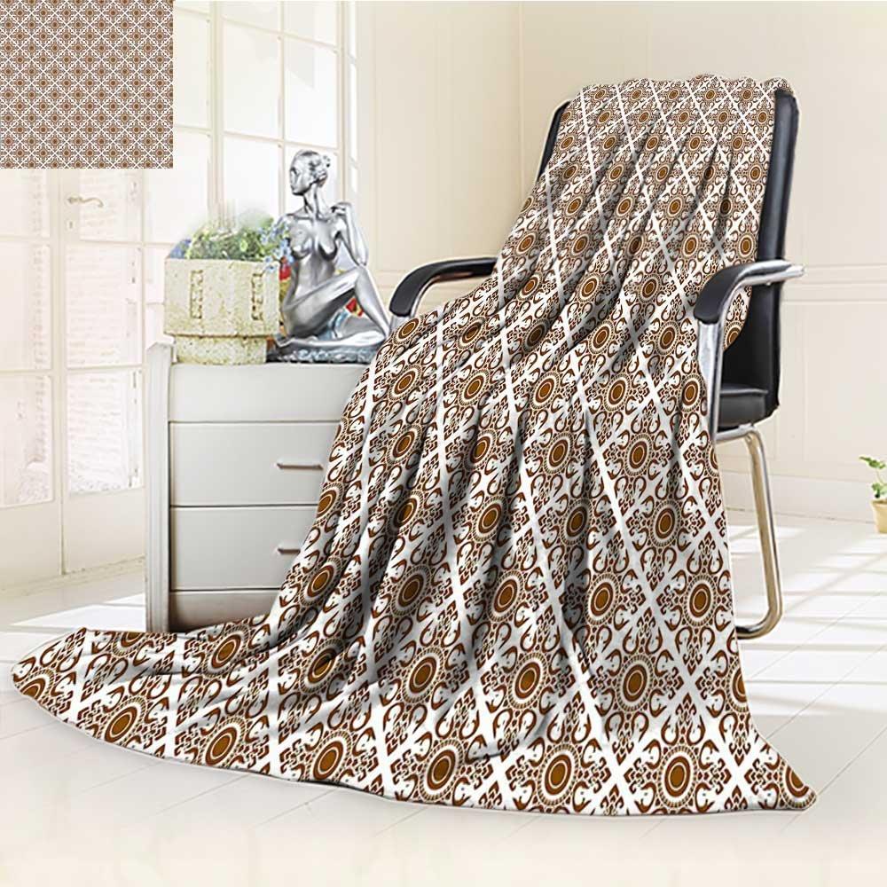 AmaPark Digital Printing Blanket Thai Art Culture Stylized Lines Dots Folk Asian Design Redwood White Summer Quilt Comforter by AmaPark