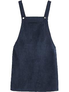 0e3dd2b2a0 Romwe Women s Straps A-line Corduroy Pinafore Bib Pocket Overall Dress