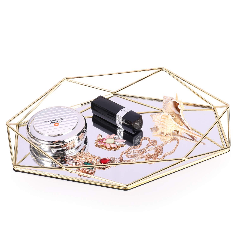 Decorative Mirror Tray Gold Vintage Jewelry Cosmetic Makeup Organizer Storage Ornate Tray Hexagonal Decorative Desktop Tray for Jewelry Vanity Perfume