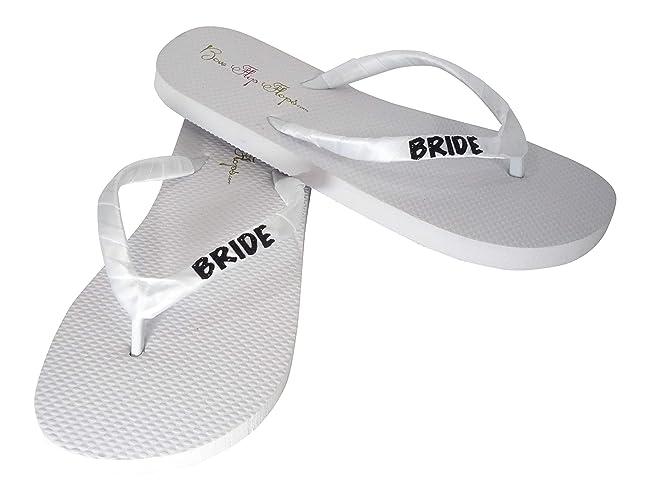 5fbd417320794e Amazon.com  Black Glitter on White Flat BRIDE Flip Flops with Sparkle  Lettering  Handmade