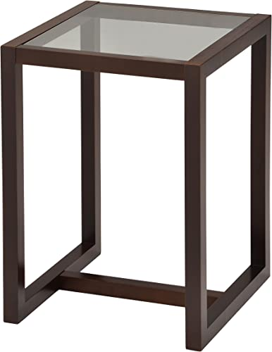 Kings Brand Furniture Wood End Table with Glass Top, Walnut