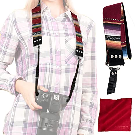 Fujifilm Capturing Couture Harmony Neck Shoulder Strap For Canon Samsung Sony DSLR Cameras and a Spot Cleaning Cloth With Storage Pouch Panasonic Nikon Olympus