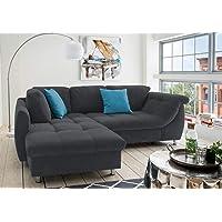 lifestyle4living Ecksofa in schwarzem Microfaser bezogen, Wohnlandschaft mit Polsterung aus Wellenfedern und Komfortschaum, Sofa inkl. Schlaffunktion und Kissen