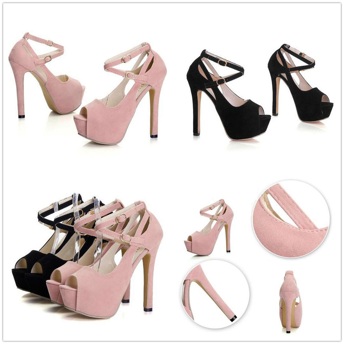 Gaorui Women Girl Peep Toe Ankle Strap Stiletto Shoes High Heel Platform Buckle Sandals