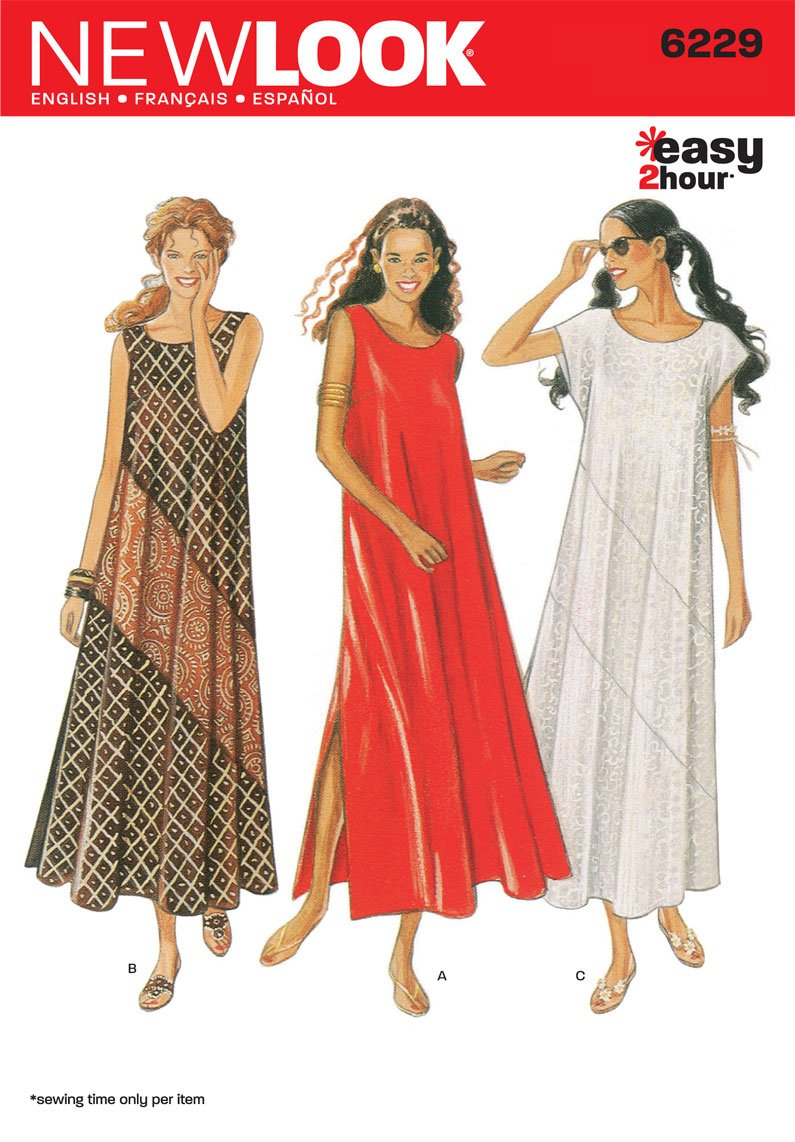 Amazon.com: New Look Sewing Pattern 6229 Misses Dresses, Size A (8 ...