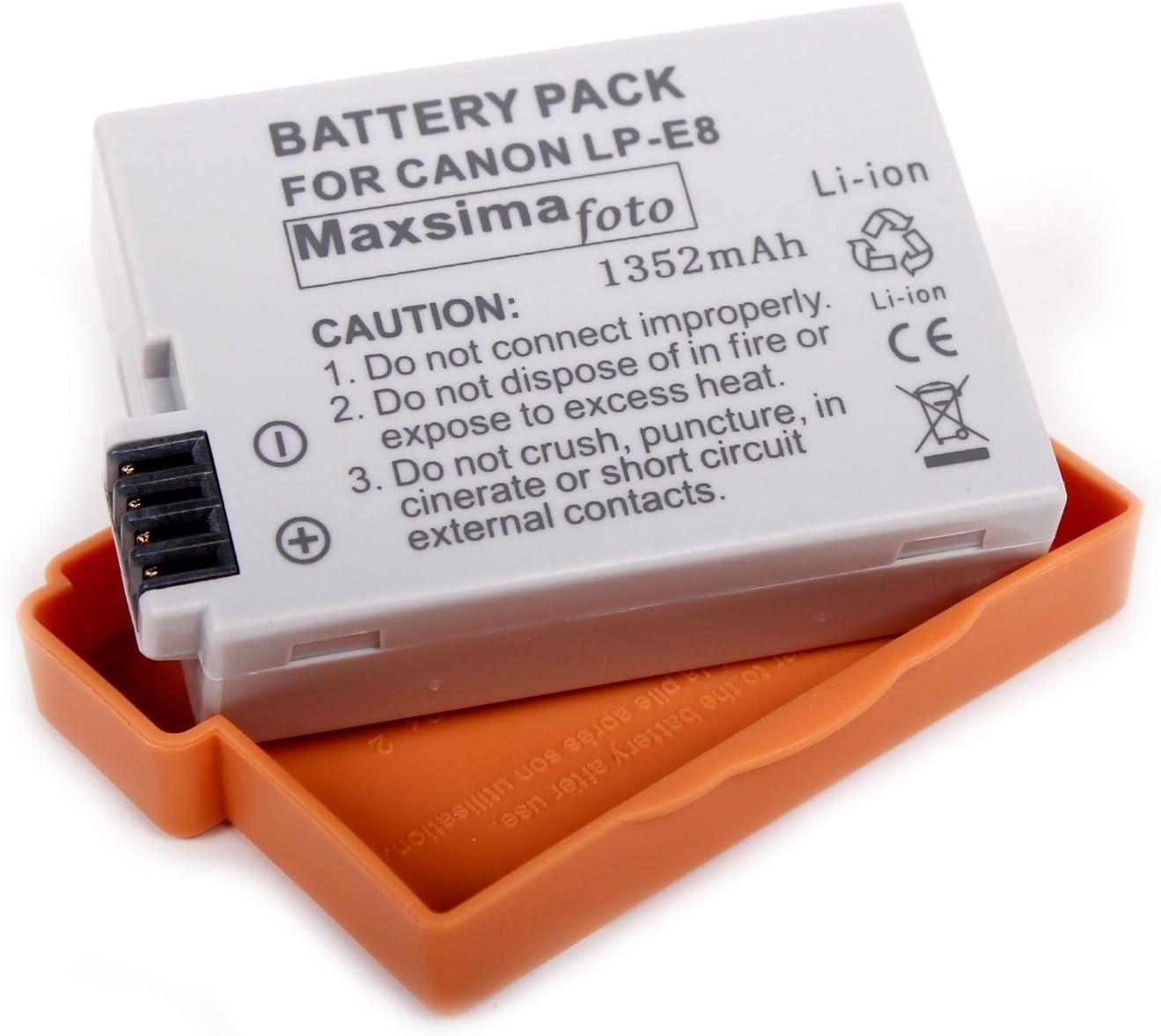 Maxsima - 1352mAh batería LP-E8, LPE8 para Canon EOS.: Amazon.es: Electrónica
