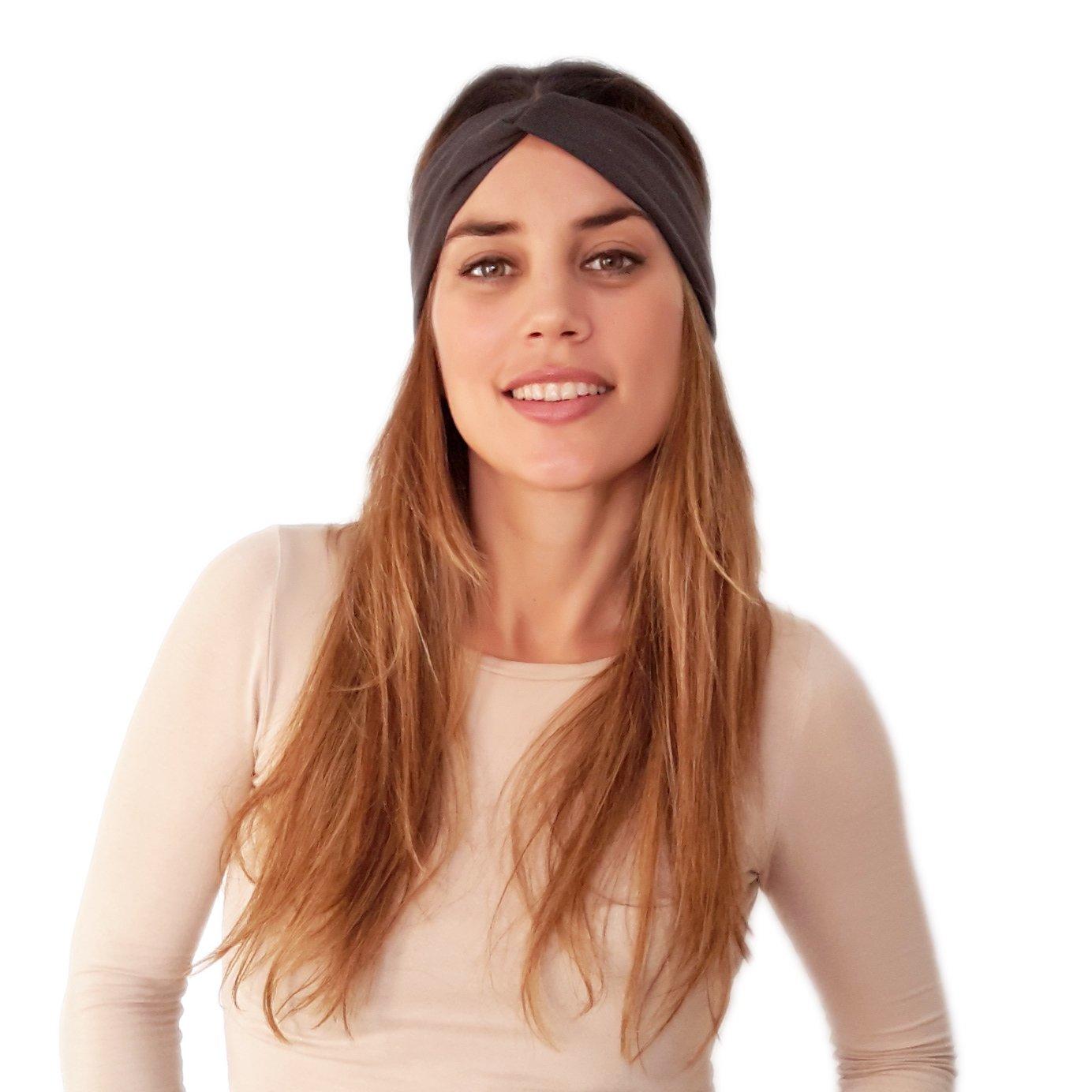 BRANDELIA Elastisches Damen Haar Stirnband Yoga Haarband Freizeit Mode Accessoire Handgefertigt in Spanien Sport Kopfband mehrere Farben