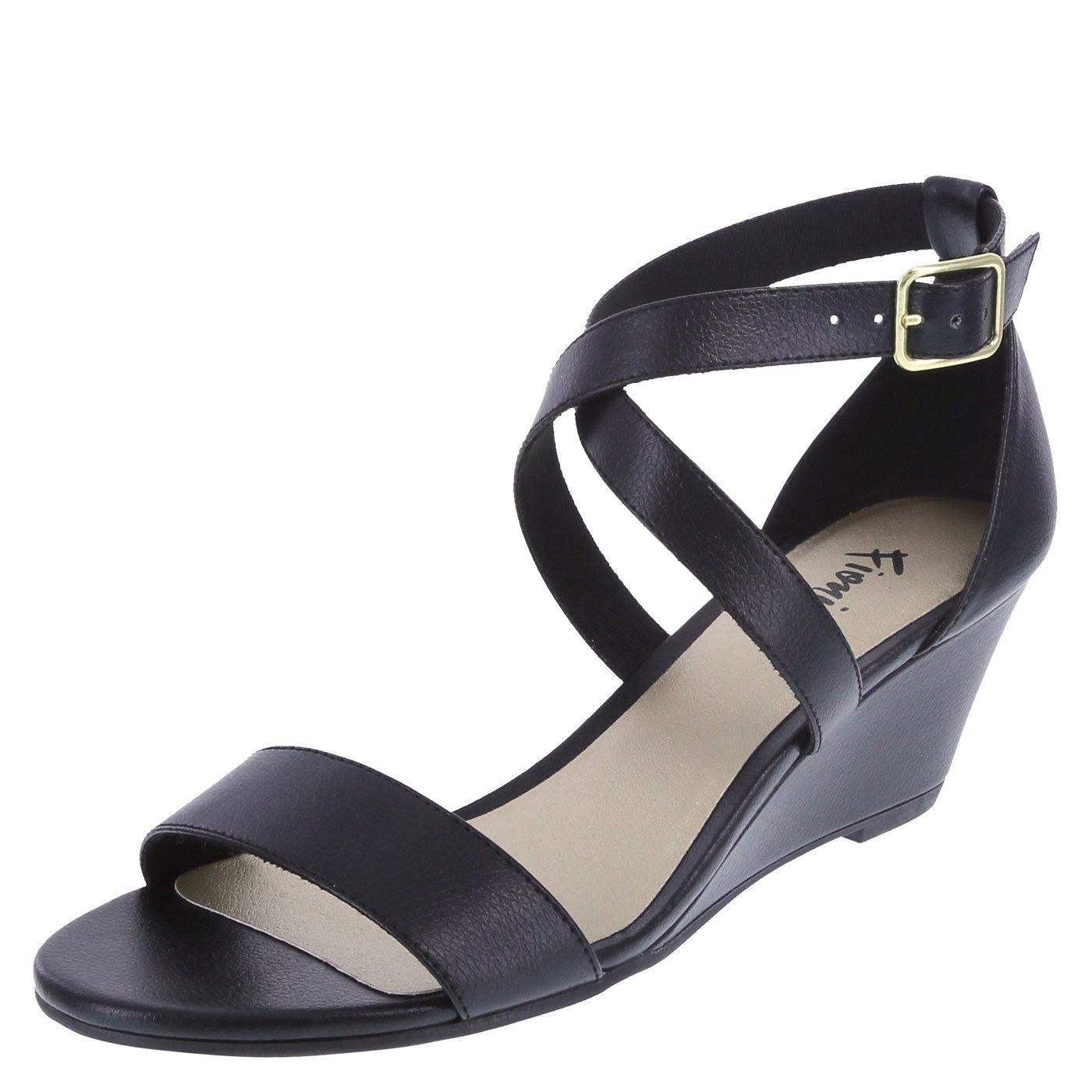 Fioni Women's Black Women's Princess Mid-Wedge Sandal 8.5 Regular