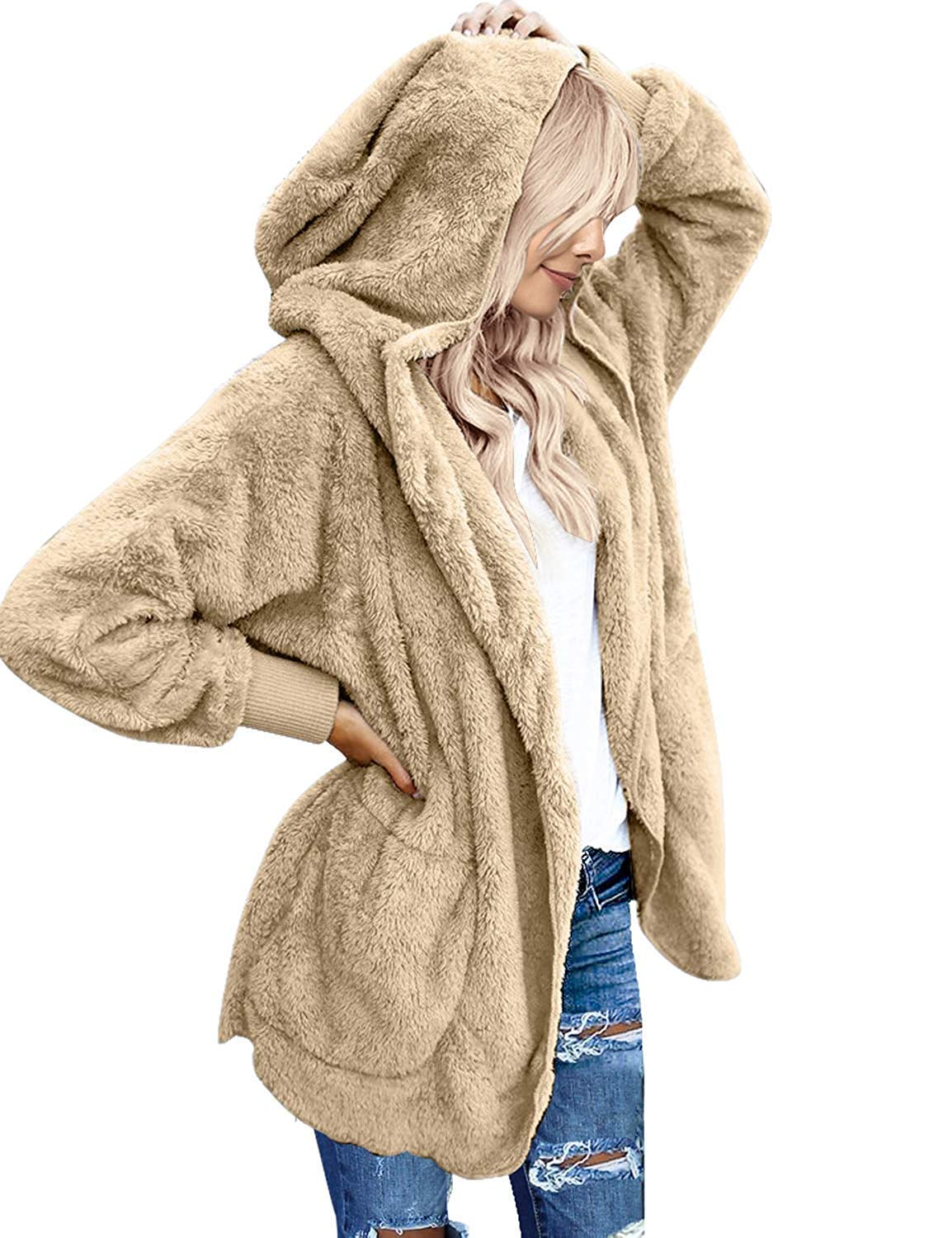 Zeagoo Womens Fuzzy Winter Open Front Cardigan Sherpa Fleece Jacket Hooded Coat Outerwear Khaki by Zeagoo