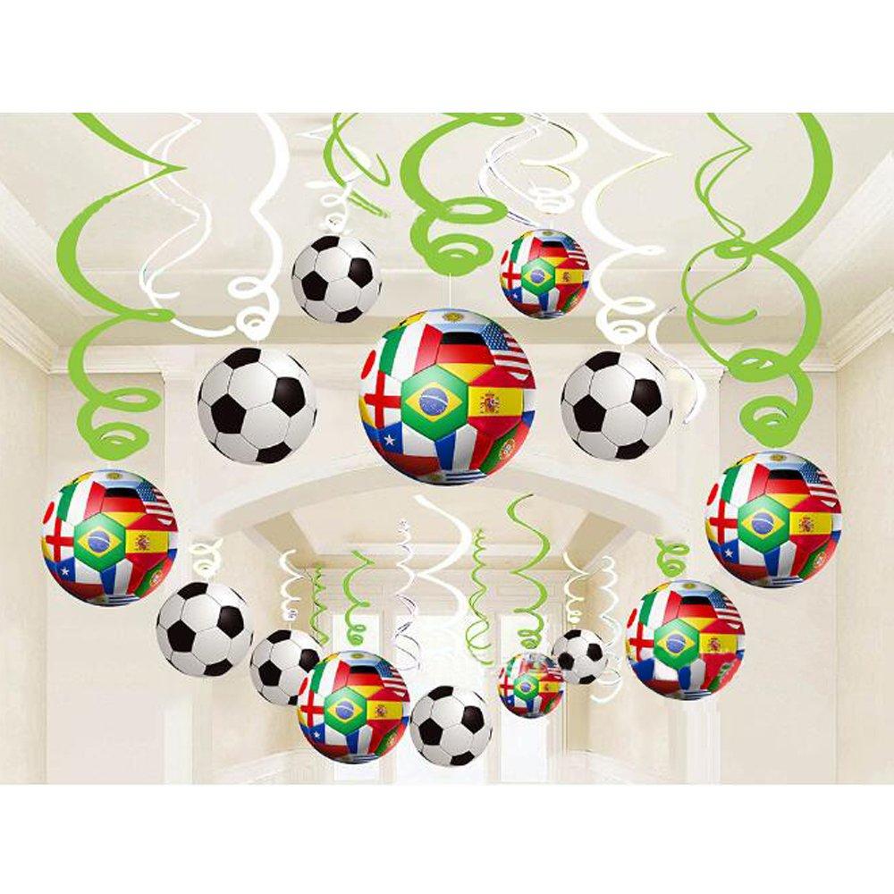 Geekbuzz Calcio Foil Soffitto Hanging Decorazioni Turbinio, 30pcs Spirali Streamers Home Bar Decorazione Calcio Tema Feste per il 2018 World Cup Festa di compleanno Festa di laurea Decro