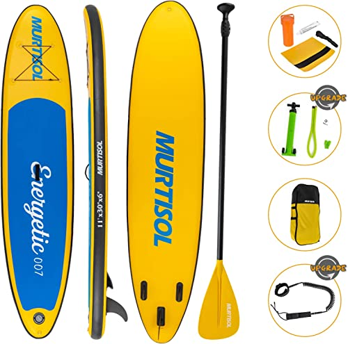 Murtisol Upgrade 11 Inflatable Stand Up Paddle Board, Ultra-Thick Durable PVC, Non-Slip Deck, SUP Accessories, Dual-Action Pump, Ankle Strap, Adjustable Paddle Yellow