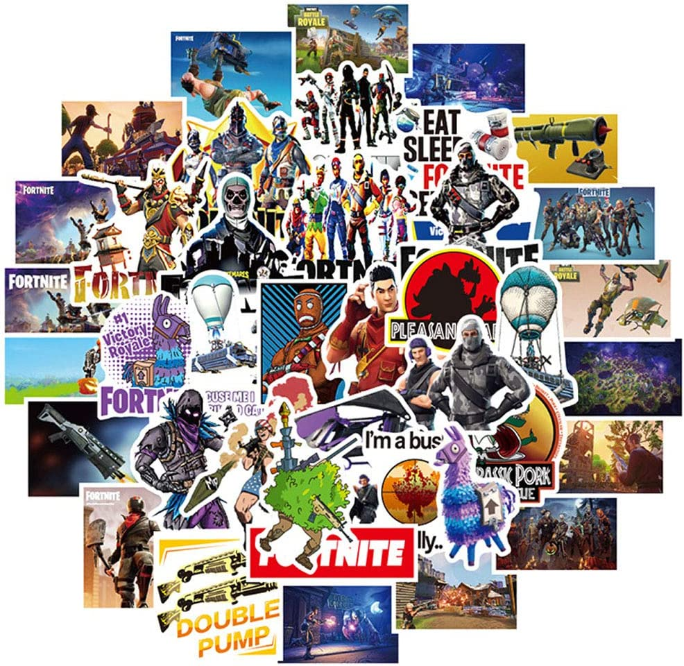 Pack of 46 Pcs Cool Game Stickers for Fortnite,Funny Waterproof Vinyl Stickers for Waterbottle Laptop Ps4 Phone Computer Car Bike,Trendy Stickers Pack for Girls Kids Teens Boys Toddlers Adults.