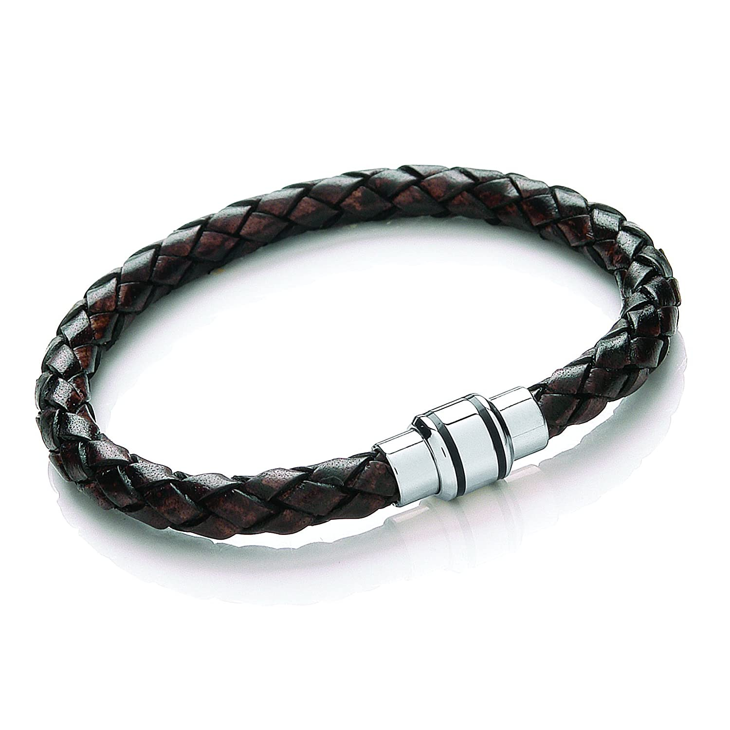 Tribal Steel Plaited Leather Bracelet with Strong Magnetic Clasp and Ion Plating Detail