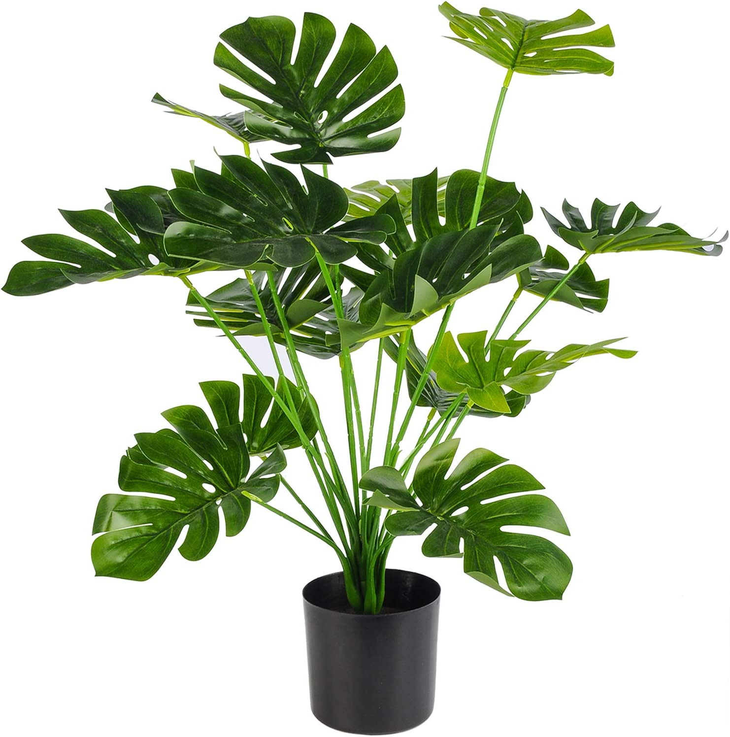 "Toopify Artificial Palm Tree, 28"" Fake Monstera Deliciosa Plant in Pot for Indoor and Outdoor Home Office Decor"